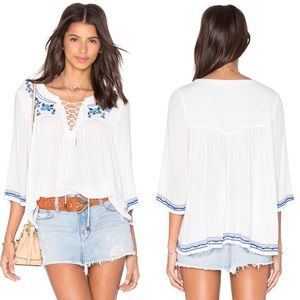 NWT Lovers + Friends Marine Lace Up Blouse
